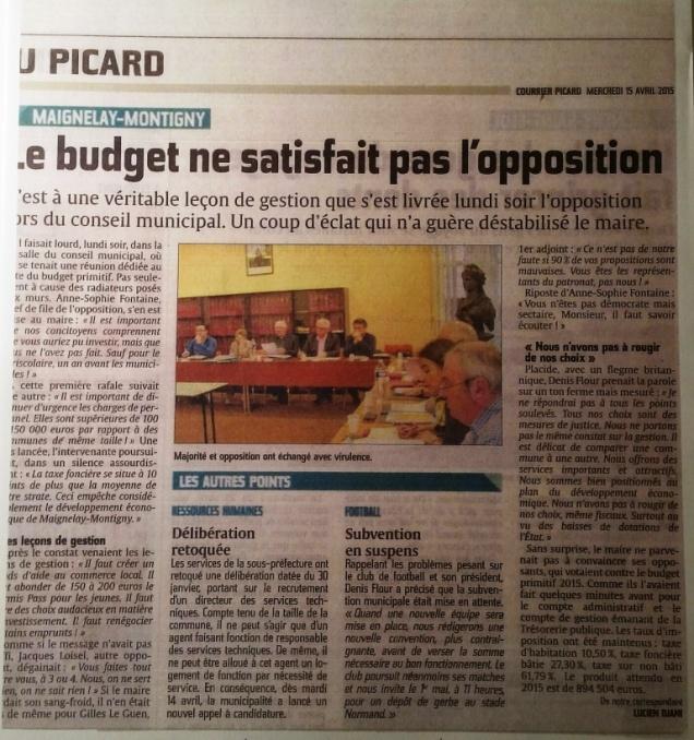 Debat sur le budget 2015 à Maignelay-Montigny