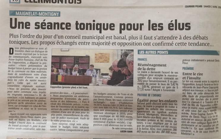 Retour sur la séance du budget municipal primitif 2016 à Maignelay-Montigny