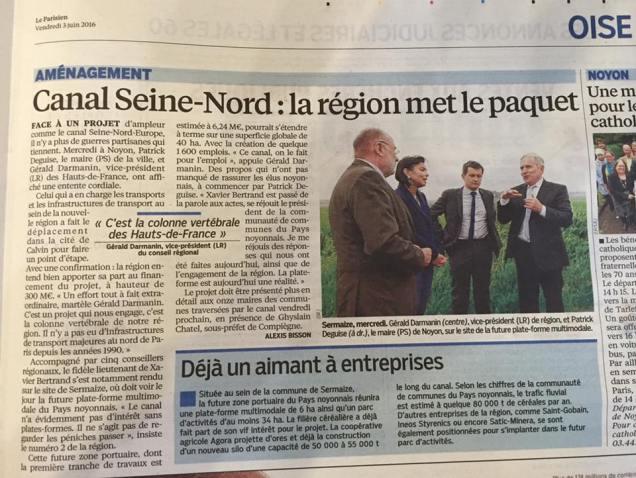 La Région s'engage pour le canal Seine Nord