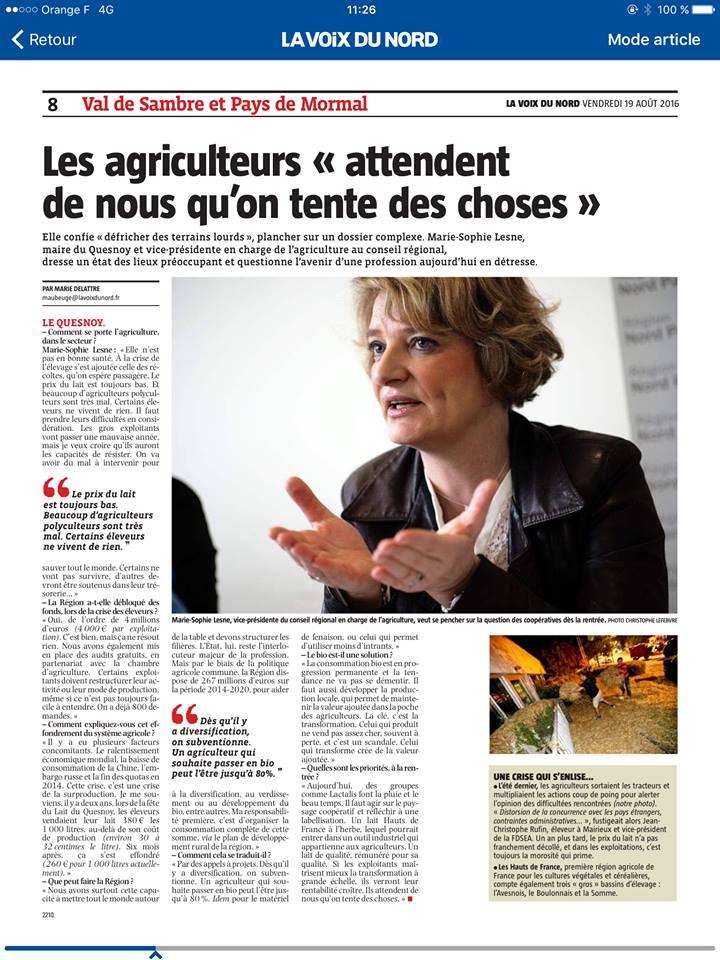 Agriculture entretien avec la vice-présidente du Conseil Régional Hauts-de-France en charge de l'agriculture