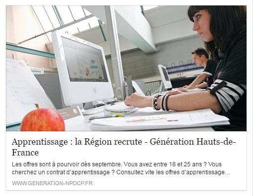 Contrat d'apprentissage la région Hauts-de-France recrute !