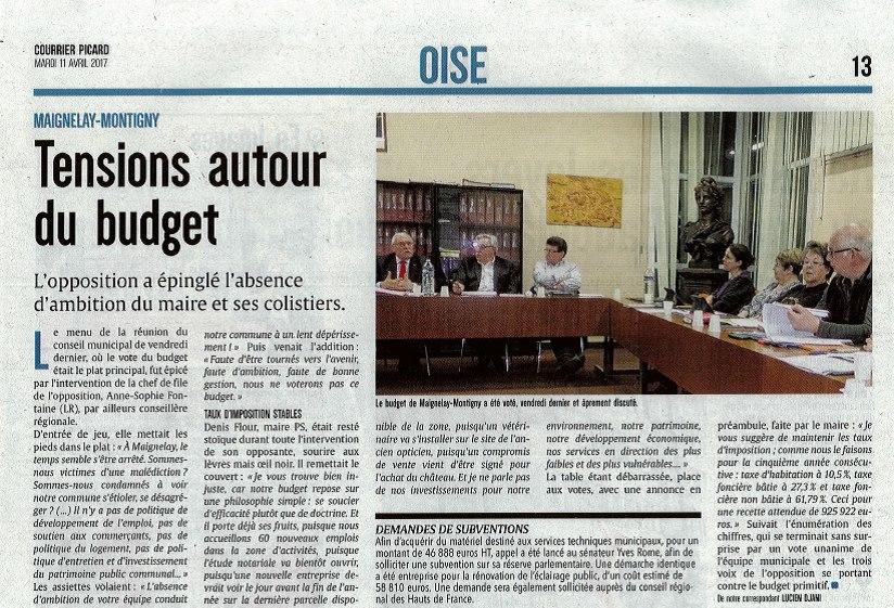 Conseil municipal de Maignelay-Montigny vote du budget