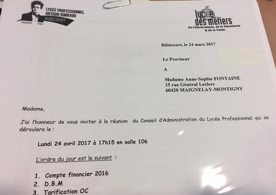 Conseil d'administration au Lycée Professionnel ARTHUR RIMBAUD à Ribécourt-Dreslincourt 1
