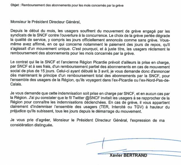 La région Hauts-de-France demande de remboursement des abonnements pour les mois concernés par la grève SNCF